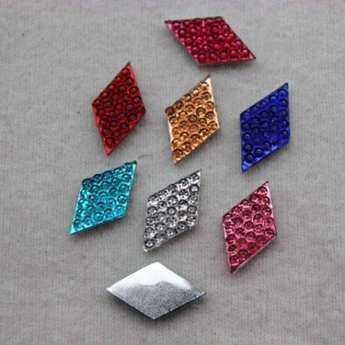 200PCS 1016mm Mixed Color Flatback Rhombus Dotted Resin Rhinestone ZZ184