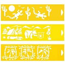 "Set of 3 - 12"" x 3"" Reusable Flexible Plastic Stencils for Cake Design Decorating Wall Home Furniture Fabric Canvas Decorations Airbrush Drawing Drafting Template - Desert Animals Camping Camp site Palm Trees"
