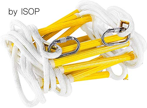 ISOP Emergency Fire Escape Ladder 8-25 ft Flame Resistant Safety Rope Ladder with Hooks - Fast to Deploy & Easy to Use - Compact & Easy to Store - Weight Capacity up to 2000 Pounds (25ft)