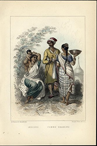 India Costume Dresses Brahmin 1858 lovely antique hand color Nationality (Nationality Costumes)