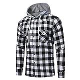 SCSAlgin Men's Tops, Men Long Sleeve Lattice Printed Plaid Hoodie Hooded Sweatshirt Tops Blouse (Black, XL)