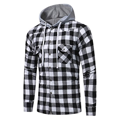 Price comparison product image SCSAlgin Men's Tops,  Men Long Sleeve Lattice Printed Plaid Hoodie Hooded Sweatshirt Tops Blouse (Black,  XL)