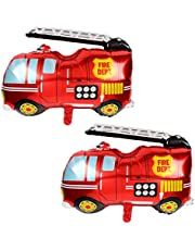 2 Pcs Jumbo Fire Truck Foil Mylar Balloon Helium Large Birthday Party Decorations Supplies Red