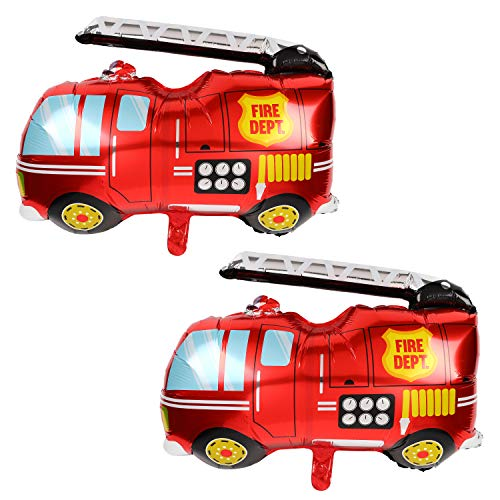 2 Pcs Jumbo Fire Truck Foil Mylar Balloon Helium Large Birthday Party Decorations Supplies Red -