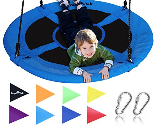 Giant 40' Saucer Tree Swing in Elite Blue - 400 lb Weight Capacity - Durable Steel Frame, Waterproof - Adjustable Ropes - Easy to Install - Bonus Flag Set and 2 Carabiners - Non-Stop Fun for Kids!