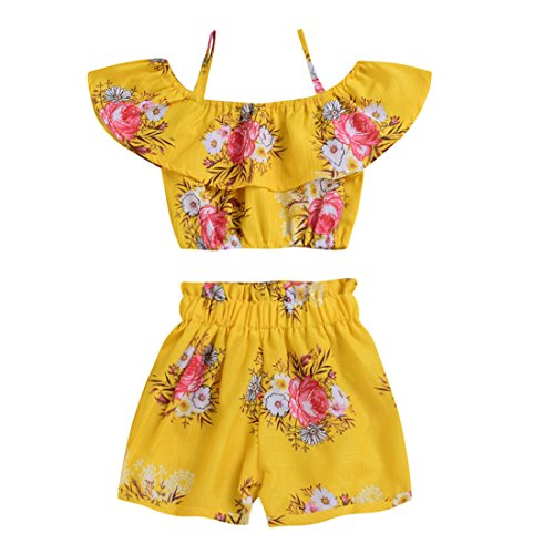 Toddler Baby Girl Floral Halter Ruffled Outfits Set Strap Crop Tops+Short Pants 2 PCS Clothes Set (Yellow, 6-7 Years)