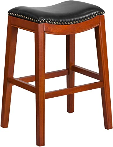Flash Furniture 30 High Backless Light Cherry Wood Barstool with Black LeatherSoft Saddle Seat
