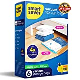 SmartSaver Vacuum Storage Bags - 6 JUMBO (40''X28'') Reusable Ziplock Space Saver Bags for Clothes Comforters Blankets Pillows Bedding Packing (Lifetime Replacement Guarantee) FREE hand pump for travel