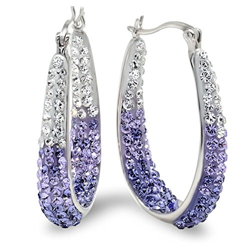 Sterling Silver Purple and White Hoop Earrings made with Swarovski Crystals