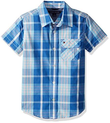 - Tommy Hilfiger Boys' Little Short Sleeve Plaid Woven Shirt, Sky Blue, 5