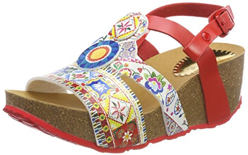 Desigual Damen Shoes_odisea Microrapport Slingback Sandalen Mehrfarbig (3061 Rojo Roja)