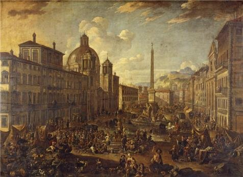 High Quality Polyster Canvas ,the Best Price Art Decorative Canvas Prints Of Oil Painting 'Piazza Navone In Rome, 1680 By Anton Goubau', 18x25 Inch / 46x63 Cm Is Best For (Tin Foil Space Costume)