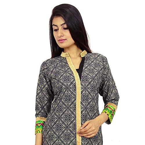 Diseñador indio de Bollywood Ropa étnica Kurti algodón de la túnica de vestir Negro-2