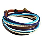 Wild Wind (TM) Multi-Strand Blue Thick Braided Adjustable Wrap Bracelet (With A Cross Necklace)