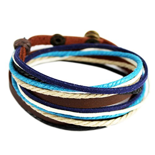 Wild Wind (TM) Christmas Multi-Strand Blue Braided Snap-fastener Adjustable Wrap Bracelet - Multi Gemstone Bracelet Watch