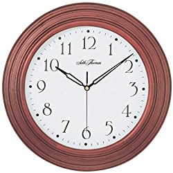 Seth Thomas Acadia White Dial Stained Brown Solid Wood Case with Quartz Wall Clock