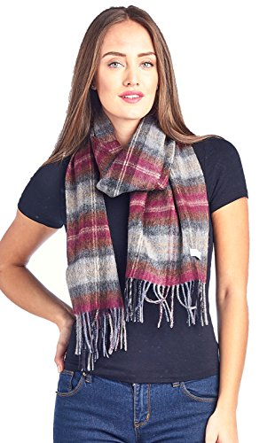 High Style 100% Lambswool wool Men and Women Plaid Pashmina Scarf (911070, WineGrey)