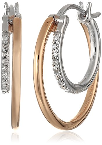 10k White Gold with Pink Gold Plating Diamond Hoop Earrin...