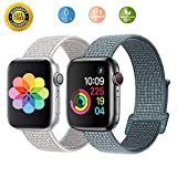 Loxdn Compatible for Watch Band 38mm 40mm 42mm 44mm, Replacement Wristbands Nylon Sport Loop Compatible i Watch Series 4/3/2/1 (White/Celesyial Teal, 38mm(40) mm)