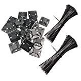 Cable Zip Ties, Adhesive Backed Cable Mounts,100 Pack Mounting Base Black with 200 Pack Black Nylon Cable Ties