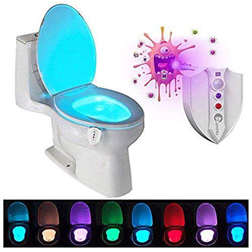 Caxmtu LED Toilet Light Nightlight with UV Sterilizer Motion Detection Night Light Sensitive Dusk to Dawn 8 Colors Battery-operated Lamp TRTAZ11A