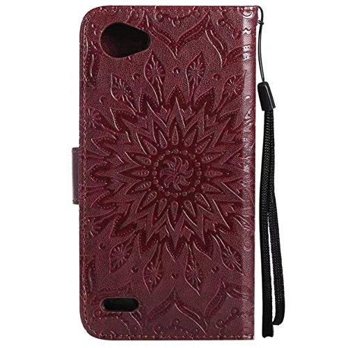 SRY-case Funda de cuero Premium en relieve Sunflower con ranuras para tarjetas y Lanyrad para LG G6 Mini ( Color : Red ) Brown