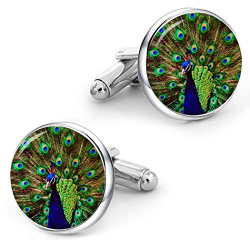 (Kooer Peacock Cufflinks Custom Personalized Wedding Cuff Links Vintage Handmade Peafowl Jewelry (silver plated)