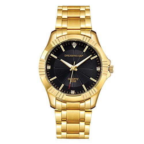 (Gold Stainless Steel Men's Casual Watches - fq005 IP Plating Quartz Dress Wristwatches for Man, Black Face)
