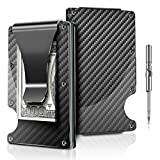 Carbon Fiber Slim Men Wallet RFID Blocking Credit Card Holder Business Card Case