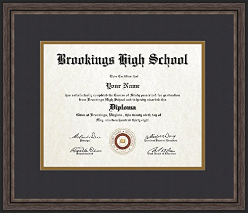 ArtToFrames 11x14 Diploma Frame, Framed in Grey and Black, Diploma-726-89/596-0066-83120-YGRY