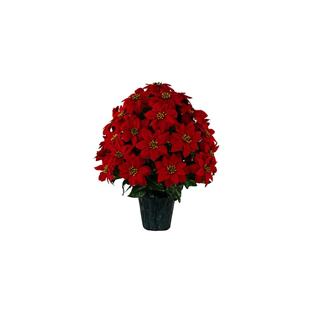 Sympathy Silks Christmas Memorial Artificial Red Poinsettia Weighted Pot Bouquet Decoration -Height 24″-26″ – Artificial Greenery – Fade Resistant