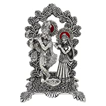 GREENTOUCH CRAFTS Handicraft Metal Radha Krishna Idol (White, 7x5-inch)