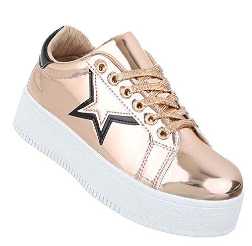 Damen low Sneakers | Sneaker Flach | Sportliche Glitzer Freizeitschuhe | Halbschuhe Plateau Sohle | Metallic Partyschuhe | Schuhcity24 Rosa