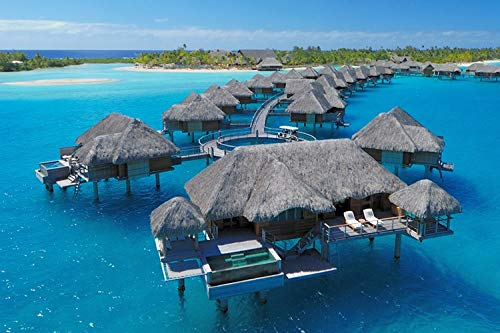 (Four Seasons Resort Bora Bora - Beach - #35243 - Wall Art Prints Fabric Cloth Rolled Wall Poster Print - Size:20x13 Inches)