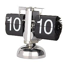 Betus [Retro Style] Flip Desk Shelf Clock - Classic Mechanical-Digital Display Battery Powered - Home & Office Décor 8 x 6.5 x 3 Inches (Black)