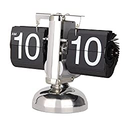 Betus Retro Style Flip Desk Shelf Clock - Classic Mechanical-Digital Display Battery Powered - Home & Office Décor 8 x 6.5 x 3 Inches (Black)