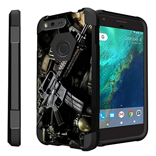Untouchble Case for Google Pixel XL Hard Case| Pixel XL Case [Traveler Series] Shockproof Hybrid 2 Layer Case with Kickstand Case - Tough Assault Rifle