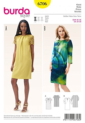 Burda Ladies Easy Sewing Pattern 6706 Shift Dresses with Gathered ...