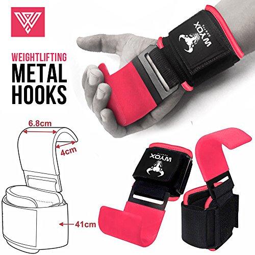 Wyox Power Steel Metal Weightlifting Strap Hooks Wrist Support Neoprene Padded Gloves - Premium Quality - Metal Weight