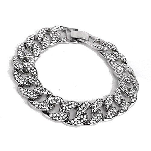 14k White Gold Plated Iced Out Techno Pave Men Watch, Cuban Chain & Bracelet Set (Bracelet (Silver Chain Bracelet Watch)
