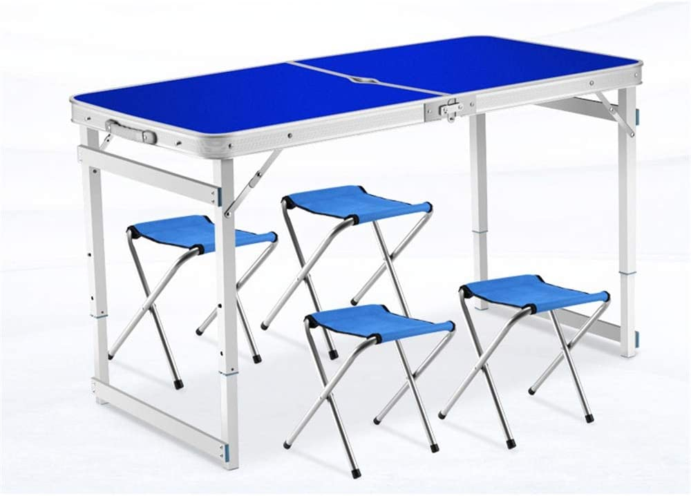 Mesa de comedor Mesa plegable 4 pies de fuerza extra para acampar Buffet Mercado de bodas Fiesta en el jardín Bota para auto Parada de picnic Día de interior Plegable al aire
