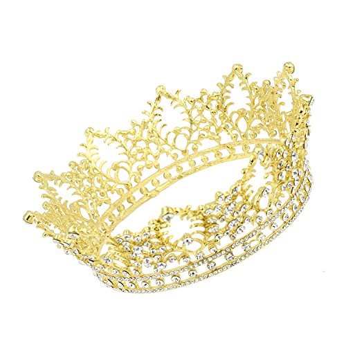 CamingHG Unisex Diamante White Crystal Sapphire Ruby Crown King Queen Pageant Tiara (Gold) (Crystal Queen Costume)