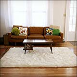 Large Area Rug - Ivory Natural White Carpet - Warm Soft Faux Fur Sheepskin - Rectangle Accent Rug (5'x8')