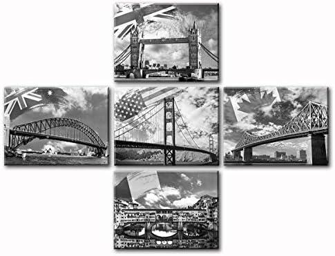 Bridges Flag Canvas Wall Art Home Decor Modern Large Famous Cityscape Pictures – Golden Gate Bridge – Jacques Cartier Bridge – London Bridge – Ponte Vecchio Bridge – Sydney Harbour Bridge Artwork