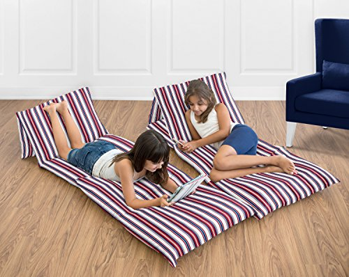 Sweet Jojo Designs Red, White and Blue Stripe Kids Teen Floor Pillow Case Lounger Cushion Cover for Nautical Nights Collection (Pillows Not Included)