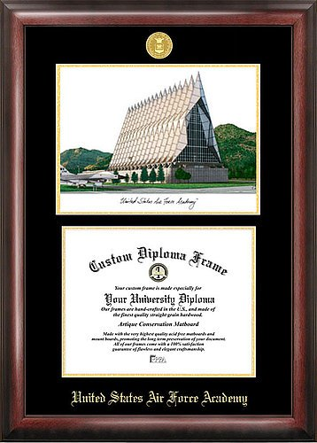 Air Force Academy Lithograph (United States Air Force Academy Embossed Gold Foil Seal Graduate Diploma Frame with Imprinted Lithograph - 2017 Graduation Diploma Frame )