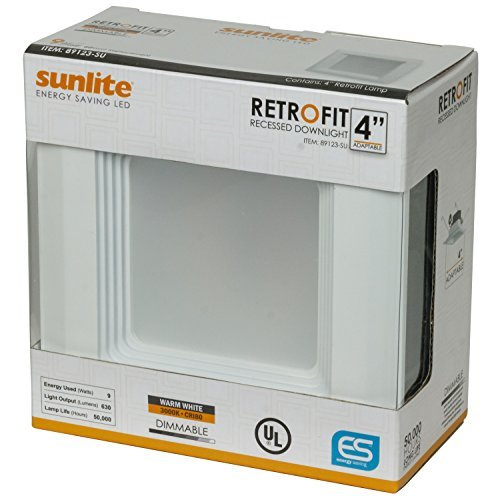 Sunlite LFX/RDL/4S/9W/DIM/30K 4 LED Square Retrofit Recessed Fixture Dimmable, Warm White 3000K White Finish by Sunlite