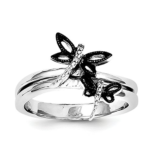 Black Diamond Butterfly Ring - 8