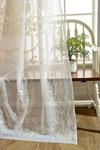 Cotton Voile Curtains - pureaqu Rod Pocket Process Semi Sheer curtains Embroidery Floral Cotton Linen Voile Curtains/Drapes For Living Room Balcony 1 Panel W39xH63
