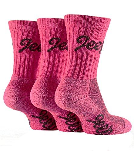 3 Pairs Ladies Luxury Cerise / Pink Jeep Terrain Walking Socks Fit Shoe Size 4-7 Uk, 37-40 Eur